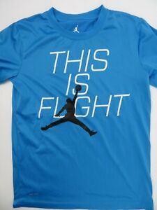 Jordan Dri-Fit This Is Flight Blue Black White T-Shirt Youth Size L