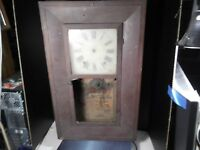ANTIQUE c1800's TERRY & ANDREWS WOOD CLOCK CASE FOR PARTS OR RESTORING
