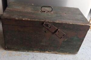 Antique Hungarian Primitive Trunk Tool Box Original Paint Forged Hardware 100 +