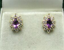 Lovely Pair Of 9 carat Gold Amethyst And Cubic Zirconia Cluster Stud Earrings