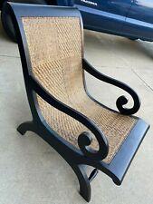 Plantation Style Lounge Chair Dark Wood Cane Seating
