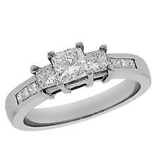 1.12ct 3-STONE Princess Cut Diamond Engagement Ring w/ Side Stone 14k White Gold