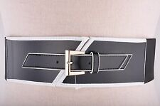 WCM New York Women's Synthetic Leather Belt Stretch Thick Black w/ White Trim  M