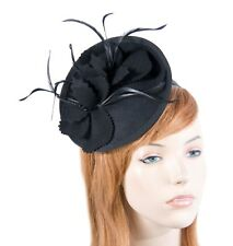 Black felt autumn & winter racing pillbox fascinator by Max Alexander RRP $119