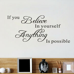 Wall Stickers Quotes Believe In Yourself Bedroom Decor Wallpapers Art Mural DIY
