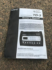 Roland Td-3 VDrum Module Brain OEM ORIGINAL USER MANUAL