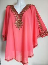 NEW GOLD SEQUIN BLOUSE  BEAUTY PINK SHIRTS PRETTY WEDDING TUNIC 22/24/26 SEXY