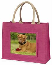 Dogue De Bordeaux with Rose Large Pink Shopping Bag Christmas Presen, AD-DB2RBLP