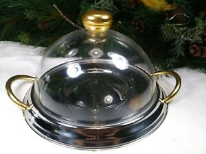 Hollywood Regency Gold And Chrome Vintage Dome Covered Cake Stand~FREE SHIPPING