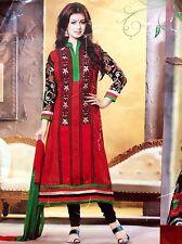 """40"""" L Cotton Designer Salwar Kameez Bollywood Indian Party Dress Red Size 12"""