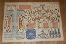 c1890 Antique Paper Toy Imagerie D'Epinal Moyenne Construction Pont Chinois
