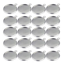 20pcs 25mm Silver Pendant Tray Round Fit For Cabochon Setting Blank Bezel Base