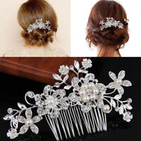 Bridal Wedding Flower Crystal Rhinestones Pearls Women Hair Clip Comb Decor A9N1