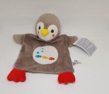Doudou Pingouin marron gris taupe poissons bulle Plat Nicotoy rouge bleu jaune