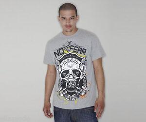 No Fear Mens Grey White Black Freedom Skull Graphic T Shirt Top Free UK Ship XXL