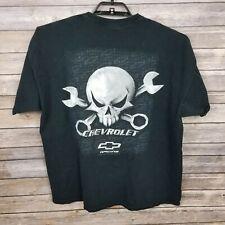 Vintage Chevrolet Skulls Checkered Flag Racing Black T-Shirt Size XXL USA