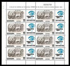 MP 2 .Minipliego Día del Sello 1984 Carro de Correo Romano España 1984 sellos