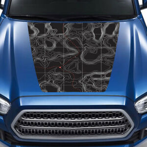 Topographic map hood decal for Toyota Tacoma graphics kits