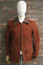 VTG 40s WINDWARD BROWN SUEDE LEATHER HALF BELT MOTORCYCLE JACKET COAT USA SMALL