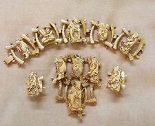 Vintage Chinese Enamel Figures on Metal Panel Bracelet Pendant Earrings Parure