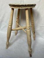 Vintage Oak Wood Farmhouse Rustic Stool with Turned Legs SEE DESCRIPTION
