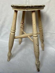 Vintage Oak Wood Farmhouse Rustic Stool with Turned Legs SEE DESCRIPTION