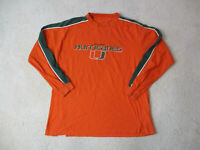 VINTAGE Miami Hurricanes Long Sleeve Shirt Adult Large Orange Green UM Men 90s