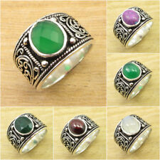 VARIATION TO PICK ! 925 Silver Plated GREEN ONYX & Other Gemstone UNISEX Ring
