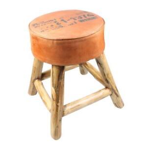 Ausstellungsstück  Hocker aus Leder Holz Lederhocker Sitzhocker Stuhl Holzhocker