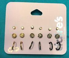Nine Pairs Claire's Rhinestone Stud Ball Half Hoop Gold Dark Black Earrings New