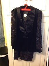 vintage fredericks of hollywood Black Lace ,Velvet , Satin Dress & Jacket 7/8