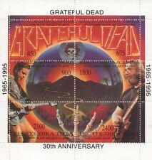 I Grateful Dead JERRY GARCIA 30th ANNIVERSARIO FRANCOBOLLO SHEETLET Gomma integra, non linguellato