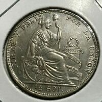 1923 PERU SILVER 1/2 SOL HIGH GRADE COIN