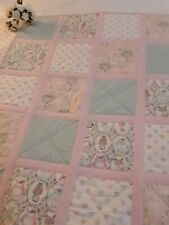 Handmade Cot Quilt Woodland Critters # 1. pink, mint and white. Cotton