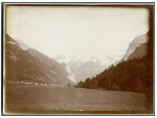 Suisse, Paysage montagneux et village suisse  Vintage citrate print. Tirage ci