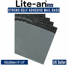 "Strong Grey Mailing Post Mail Postal Bags Poly Postage Self Seal 6"" x 9"""