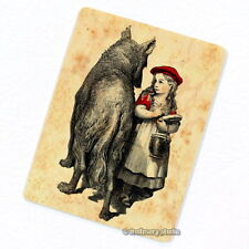 Red Riding Hood & Wolf Deco Magnet, Decorative Fridge Antique Story Illustration