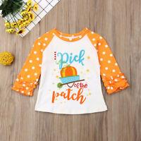 Toddler Baby Kids Girl Ruffle Letter Pumpkin Tops T-Shirt Halloween Clothes