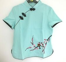 CHINESE GREEN BIRD FLOWER WOMEN TOP JACKET DRESS UK SIZE 10 12 US 6 EU 40 PARTY