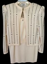 Vintage Saks Fifth Ave St John  3 Pc. Jacket Skirt Top  Sz10 Wool Blend  NEW USA