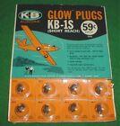 K&B KB-1S GLOW PLUG, CONTROL LINE SHORT REACH, NEW IN PACK, VINTAGE, 50'S, 1 EA