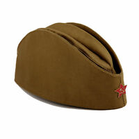 SOVIET SOLDIER RUSSIAN USSR ARMY PILOTKA MILITARY UNIFORM FIELD HAT + RED STAR