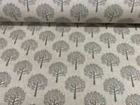 Mulberry Beige Grey Linen Trees  Curtain/Craft/upholstery Fabric 140cm wide