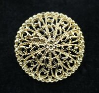 Vintage Abstract Open Work Modernist Gold Plated Brooch Pin