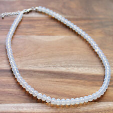 Semi-Precious Faceted White Moonstone Natural Stone Necklace