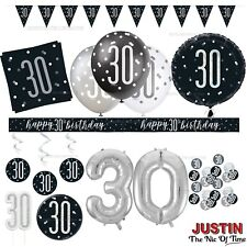 Black 30th Birthday Party Decorations Boys Mens Male Balloons Banners Age 30