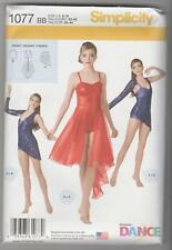 Simplicity Sewing Pattern 1077 Miss Knit Dancewear Bodysuit Top Skirt Sz 6-16