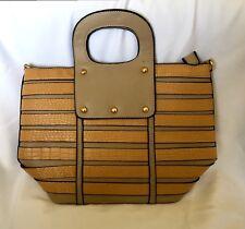 "Womens Handbag tote Purse 15x15x6"" Beautiful Khaki And Camel Stripes color"