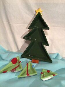 CERAMIC CHRISTMMAS TREE SNACK -CANDY  TRAY NEW WOBX