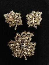 Vintage Bogoff Leaf Brooch and Clip On Earrings Set